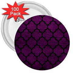 Tile1 Black Marble & Purple Leather 3  Buttons (100 Pack)  by trendistuff