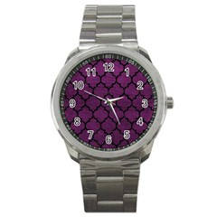 Tile1 Black Marble & Purple Leather Sport Metal Watch by trendistuff