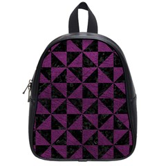 Triangle1 Black Marble & Purple Leather School Bag (small) by trendistuff