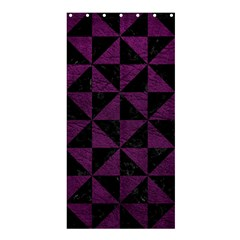 Triangle1 Black Marble & Purple Leather Shower Curtain 36  X 72  (stall)  by trendistuff
