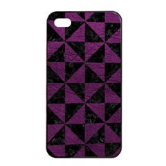 Triangle1 Black Marble & Purple Leather Apple Iphone 4/4s Seamless Case (black) by trendistuff