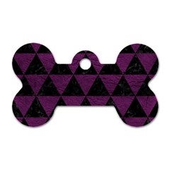 Triangle3 Black Marble & Purple Leather Dog Tag Bone (two Sides) by trendistuff