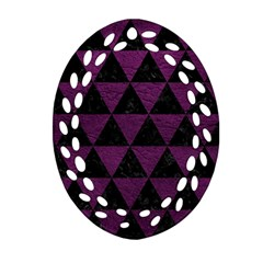 Triangle3 Black Marble & Purple Leather Oval Filigree Ornament (two Sides) by trendistuff