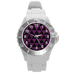 Triangle3 Black Marble & Purple Leather Round Plastic Sport Watch (l) by trendistuff