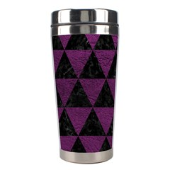 Triangle3 Black Marble & Purple Leather Stainless Steel Travel Tumblers by trendistuff