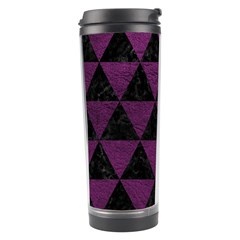 Triangle3 Black Marble & Purple Leather Travel Tumbler by trendistuff
