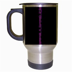 Woven1 Black Marble & Purple Leather Travel Mug (silver Gray) by trendistuff