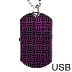 Woven1 Black Marble & Purple Leather Dog Tag Usb Flash (two Sides) by trendistuff