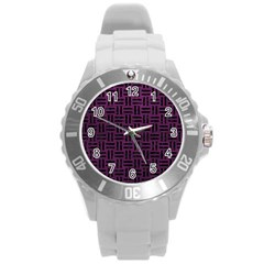 Woven1 Black Marble & Purple Leather Round Plastic Sport Watch (l) by trendistuff