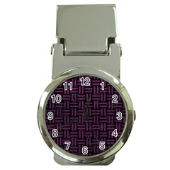 Woven1 Black Marble & Purple Leather (r) Money Clip Watches by trendistuff