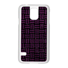 Woven1 Black Marble & Purple Leather (r) Samsung Galaxy S5 Case (white) by trendistuff