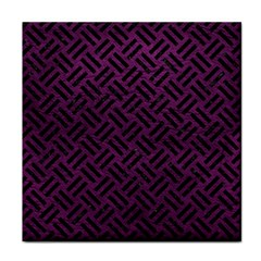 Woven2 Black Marble & Purple Leather Tile Coasters by trendistuff
