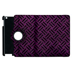 Woven2 Black Marble & Purple Leather Apple Ipad 3/4 Flip 360 Case by trendistuff