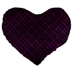 Woven2 Black Marble & Purple Leather Large 19  Premium Heart Shape Cushions by trendistuff