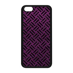 Woven2 Black Marble & Purple Leather Apple Iphone 5c Seamless Case (black) by trendistuff