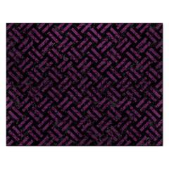 Woven2 Black Marble & Purple Leather (r) Rectangular Jigsaw Puzzl by trendistuff