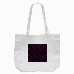 Woven2 Black Marble & Purple Leather (r) Tote Bag (white) by trendistuff