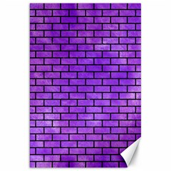 Brick1 Black Marble & Purple Watercolor Canvas 20  X 30   by trendistuff