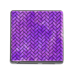 Brick2 Black Marble & Purple Watercolor Memory Card Reader (square) by trendistuff