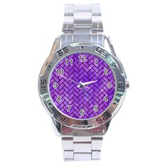 Brick2 Black Marble & Purple Watercolor Stainless Steel Analogue Watch by trendistuff