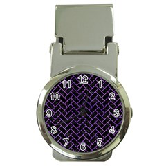 Brick2 Black Marble & Purple Watercolor (r) Money Clip Watches by trendistuff