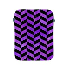 Chevron1 Black Marble & Purple Watercolor Apple Ipad 2/3/4 Protective Soft Cases by trendistuff