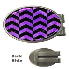 Chevron2 Black Marble & Purple Watercolor Money Clips (oval)  by trendistuff