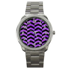 Chevron2 Black Marble & Purple Watercolor Sport Metal Watch by trendistuff