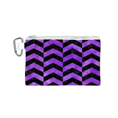 Chevron2 Black Marble & Purple Watercolor Canvas Cosmetic Bag (s) by trendistuff