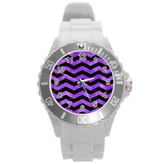Chevron3 Black Marble & Purple Watercolor Round Plastic Sport Watch (l) by trendistuff