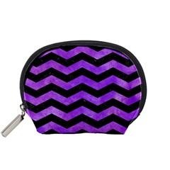 Chevron3 Black Marble & Purple Watercolor Accessory Pouches (small)  by trendistuff