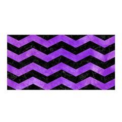 Chevron3 Black Marble & Purple Watercolor Satin Wrap by trendistuff
