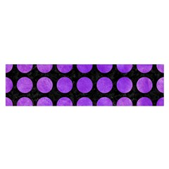 Circles1 Black Marble & Purple Watercolor (r) Satin Scarf (oblong) by trendistuff