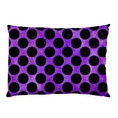Circles2 Black Marble & Purple Watercolor Pillow Case by trendistuff