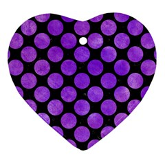 Circles2 Black Marble & Purple Watercolor (r) Heart Ornament (two Sides) by trendistuff
