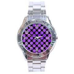 Circles2 Black Marble & Purple Watercolor (r) Stainless Steel Analogue Watch by trendistuff