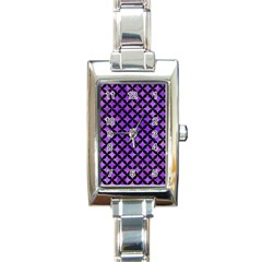 Circles3 Black Marble & Purple Watercolor Rectangle Italian Charm Watch by trendistuff