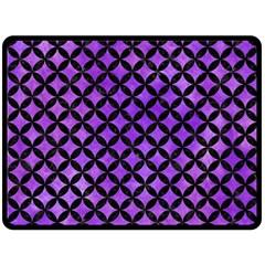 Circles3 Black Marble & Purple Watercolor Fleece Blanket (large)  by trendistuff