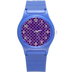Circles3 Black Marble & Purple Watercolor (r) Round Plastic Sport Watch (s) by trendistuff