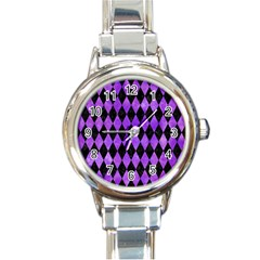 Diamond1 Black Marble & Purple Watercolor Round Italian Charm Watch by trendistuff
