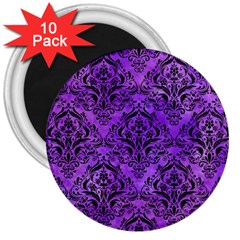 Damask1 Black Marble & Purple Watercolor 3  Magnets (10 Pack)  by trendistuff
