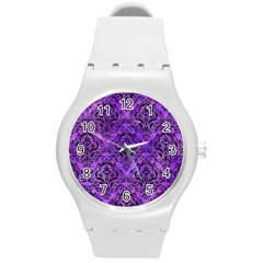 Damask1 Black Marble & Purple Watercolor Round Plastic Sport Watch (m) by trendistuff