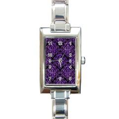 Damask1 Black Marble & Purple Watercolor (r) Rectangle Italian Charm Watch by trendistuff