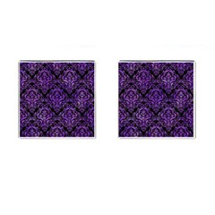 Damask1 Black Marble & Purple Watercolor (r) Cufflinks (square) by trendistuff