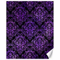 Damask1 Black Marble & Purple Watercolor (r) Canvas 16  X 20   by trendistuff