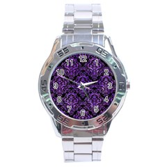 Damask1 Black Marble & Purple Watercolor (r) Stainless Steel Analogue Watch by trendistuff