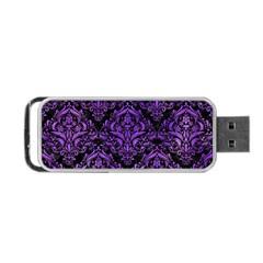 Damask1 Black Marble & Purple Watercolor (r) Portable Usb Flash (one Side) by trendistuff