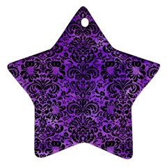 Damask2 Black Marble & Purple Watercolor Star Ornament (two Sides) by trendistuff