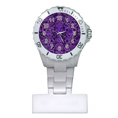 Damask2 Black Marble & Purple Watercolor (r) Plastic Nurses Watch by trendistuff