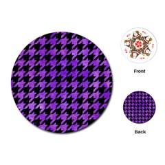 Houndstooth1 Black Marble & Purple Watercolor Playing Cards (round)  by trendistuff